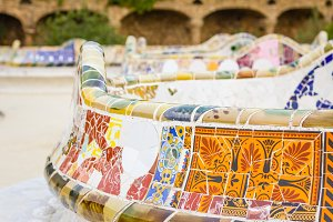 Detail of colorful mosaic in a bench