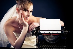 Beautiful Bride With Typewriter