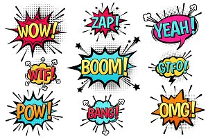 Comic explosion speech bubbles.