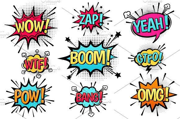 Comic explosion speech bubbles.