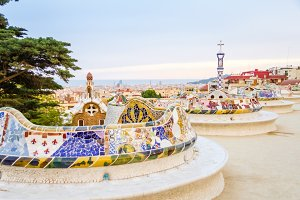 Colorful mosaic bench of park Guell
