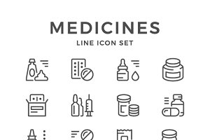 Set line icons of medicines