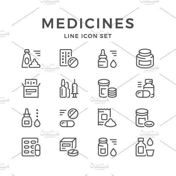 Set line icons of medicines in Graphics