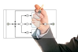 Businessman Drawing A Bpmn Diagram