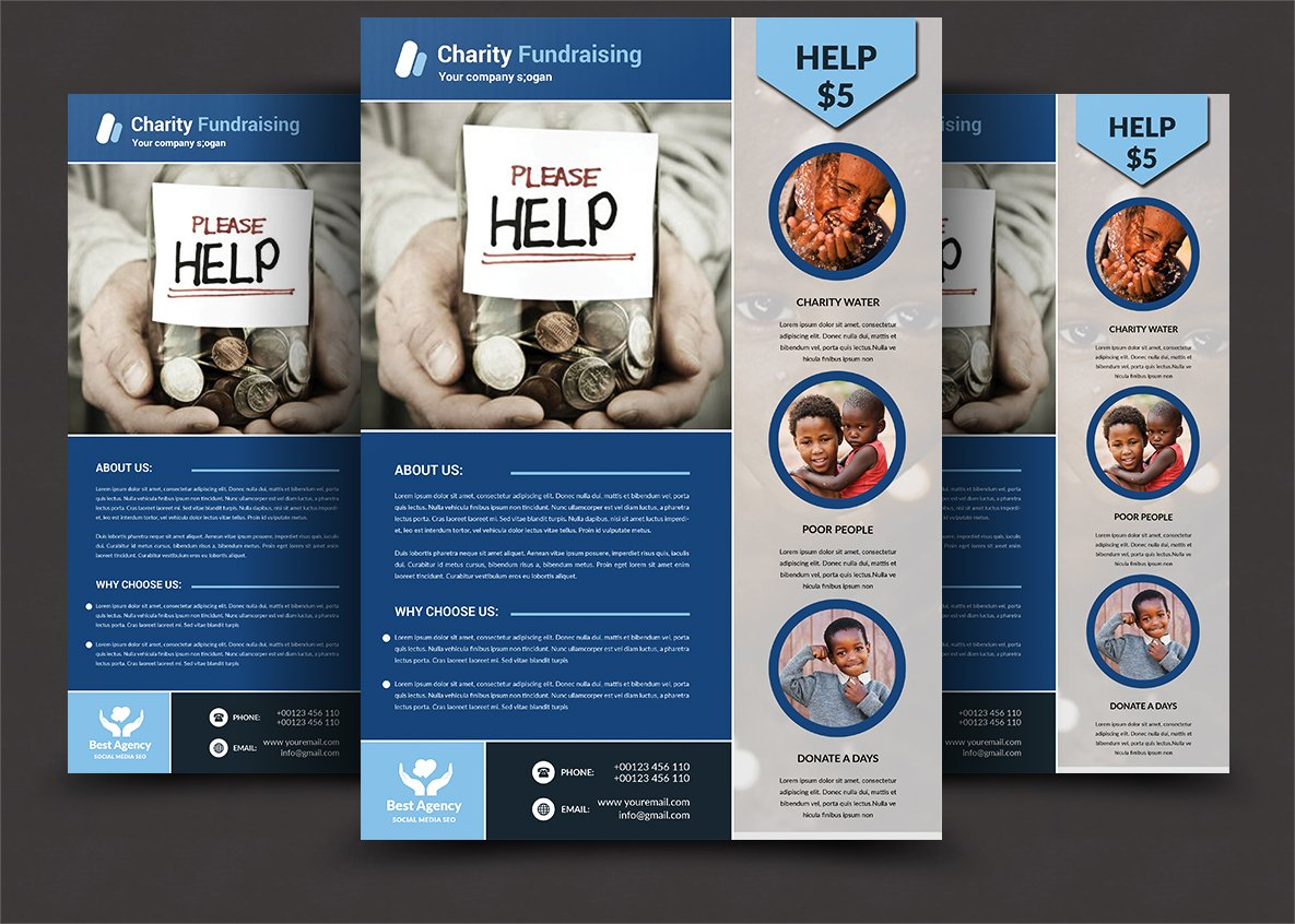 charity fundraising flyer templates flyer templates creative market. Black Bedroom Furniture Sets. Home Design Ideas