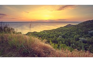 Majestic nature landscape with sunset sky