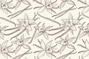 Vanilla flower seamless pattern