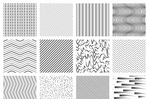 Thin line seamless pattern set