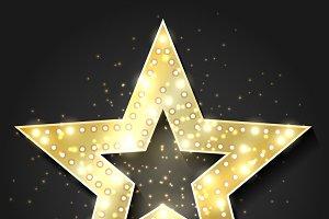 Stars shape retro 3d frame