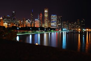 Chicago night skyline.