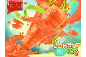 Carrot vegetable. 3d vector