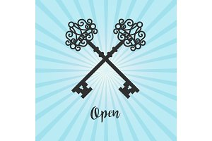 Vintage crossed keys on blue background