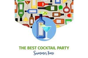 Summer time banner for cocktail bar