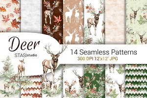 Deer Fall Seamless Pattern