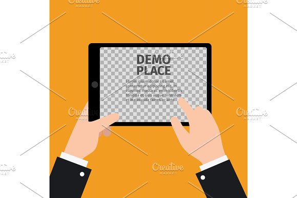 Tablet in hand with transparent background