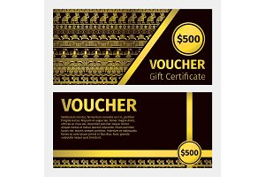 Voucher certificate golden template