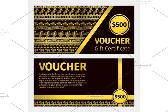 Voucher certificate golden template in Illustrations
