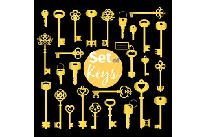 Antique and modern gold keys set