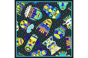 Blue psychedelic bandana with masks pattern