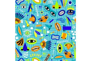 Funny blue seamless pattern for kids