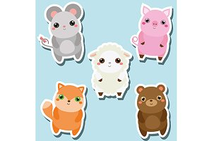 Cute animals stickers
