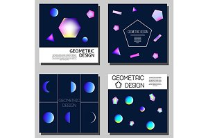 Cards with geometric glowing element
