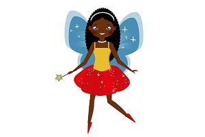 Dark skinned fairy with magic wand