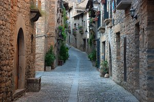 Old street in the medieval village o