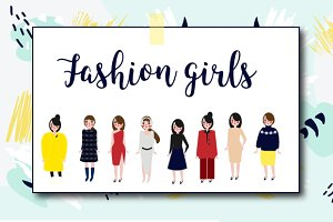 Fashion girls icons. eps+png