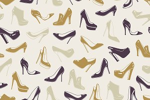 Woman's shoes seamless pattern