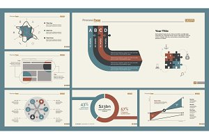 Six Analyzing Charts Slide Templates Set