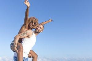 Couple enjoying at beach