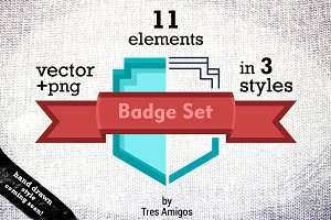 Vector badge set 11 pc. in 3 styles