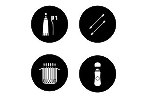 Hygienic products glyph icons set
