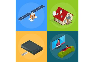 Four isometric web concepts a house with an antenna, satellite, a TV tuner, a man watching television. Wireless Technology and Global communication