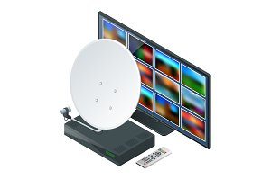 Isometric icon an antenna, a remote and receiver for satellite TV and TV on white. Wireless Technology and Global communication. Vector illustration World global net