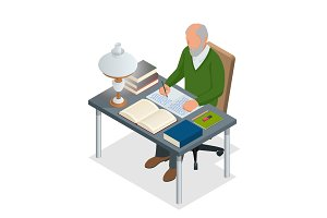 Isometric old people or Senior man. The old man sits at a table with books and a lamp and writes. Isolated on white background