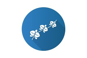 Orchid branch flat design long shadow glyph icon