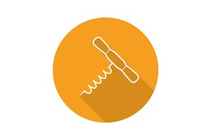 Corkscrew flat linear long shadow icon