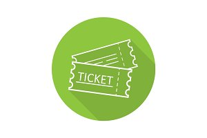 Tickets flat linear long shadow icon