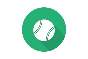 Tennis ball flat design long shadow glyph icon