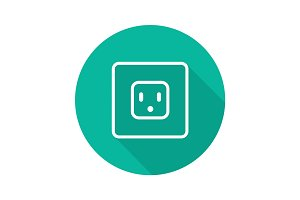 Electric power socket flat linear long shadow icon
