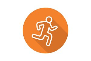 Runner flat linear long shadow icon