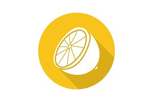 Lemon flat design long shadow glyph icon