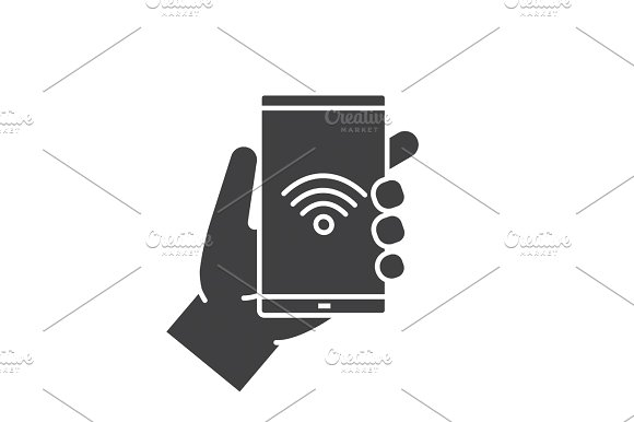 Hand holding smartphone glyph icon