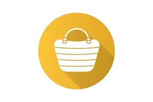 Beach bag flat design long shadow glyph icon