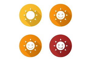 Sun smiles flat design long shadow glyph icons set