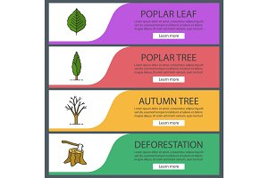 Trees web banner templates set