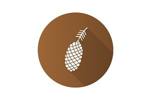 Pine cone flat design long shadow glyph icon