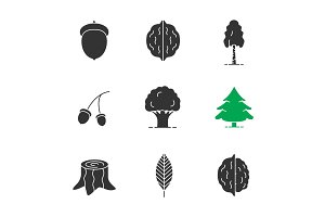 Forestry glyph icons set